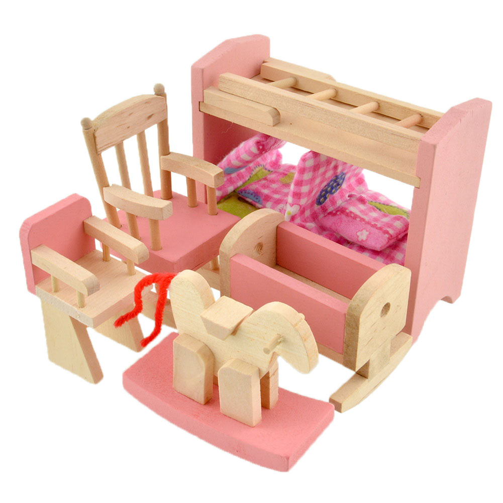 Wooden dolls house furniture miniature 6 room for kids children gifts ebay Dolls wooden furniture