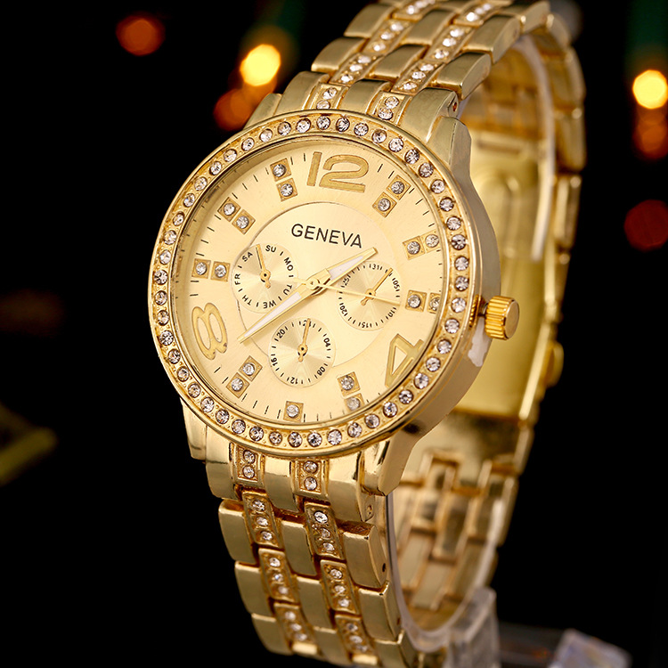 Luxury Geneva Women Bling Stainless Steel Quartz Crystal Wrist Watch Decor Gift