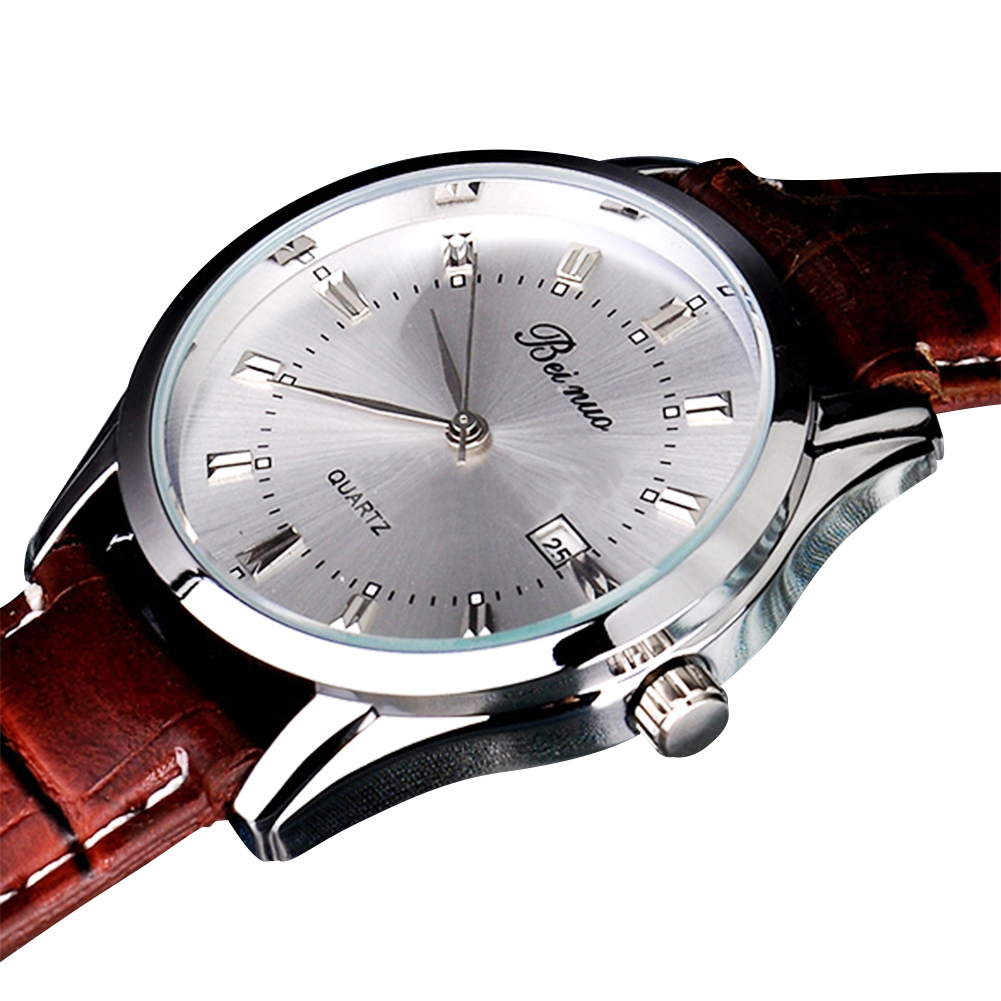 6334-Classic-Men-039-s-Business-Casual-Watch-Round-Dial-Leather-Stap-Decor-Coffee
