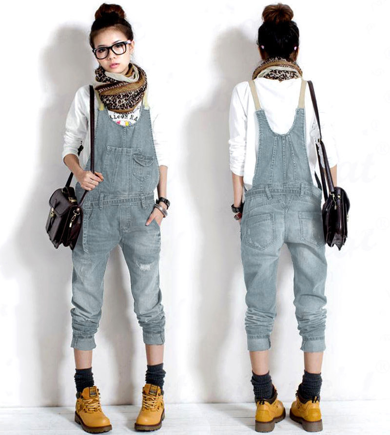 damen casual jeans latzhose cowboy overalls denim jumpsuits hose pants ebay. Black Bedroom Furniture Sets. Home Design Ideas