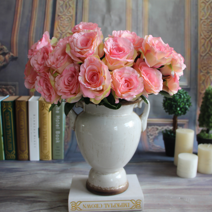 New 7-Branches Spring Artificial Fake Silk Rose Flowers Cafe Room Wedding Decor