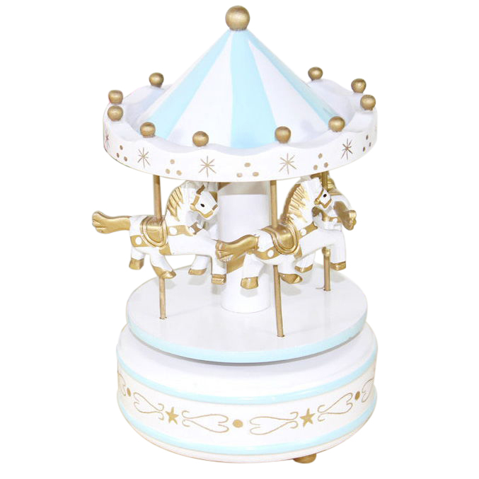 New Wooden Merry-Go-Round Carousel Music Box For Kids Girls Wedding Gift Toy