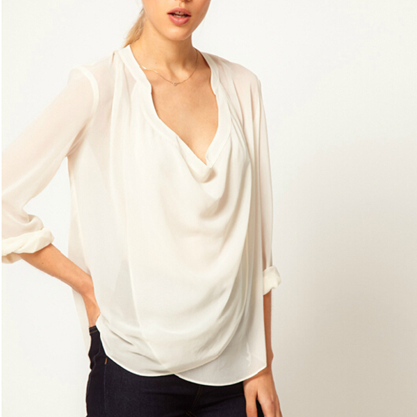 Fashion Women's Chiffon Tops Long Sleeve Loose Shirt Blouse Black/White