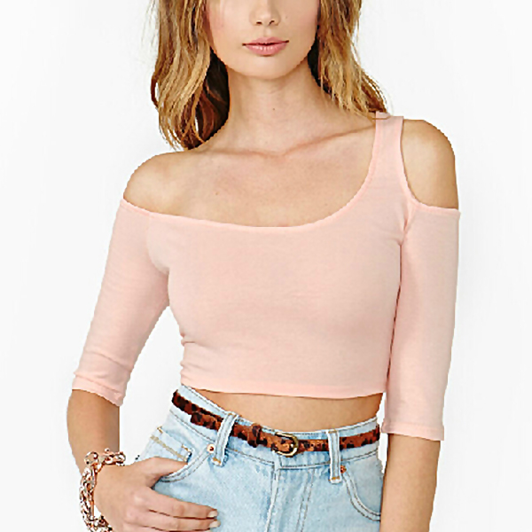 New Women Sexy Off Shoulder Half Sleeves T-Shirt Casual Crop Top Blouse