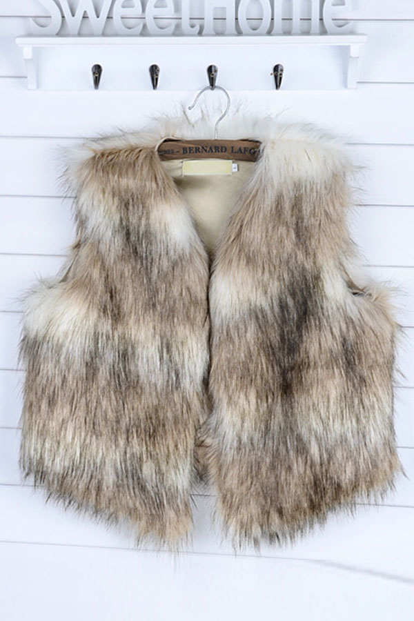 Fashion Women Winter Vest Sleeveless Faux Fur Jacket Waistcoat Coat Outwear