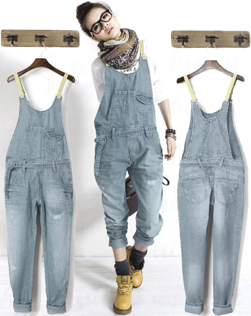 damen casual jeans latzhose cowboy overalls denim jumpsuits hose pants ebay. Black Bedroom Furniture Sets. Home Design Ideas