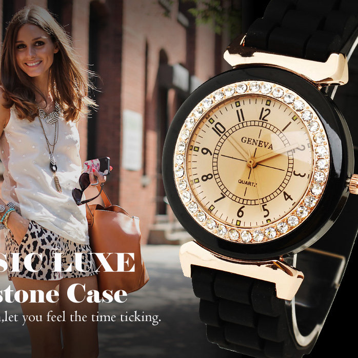 Fashion Geneva Women's Rhinestone Silicone Band Analog Quartz Wrist Watch