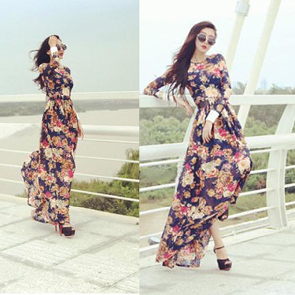 Sexy Women Summer Boho Beach Long Maxi Long Sleeve Chiffon Casual Dress