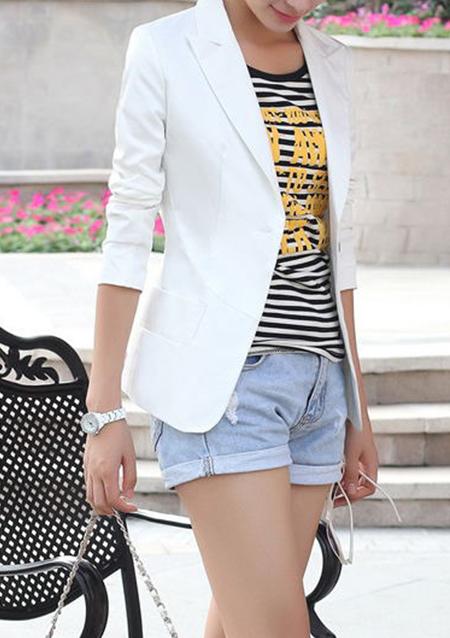 Women Slim Fit Casual One Button Blazer Suit Jacket Coat Tops Lady Blazers