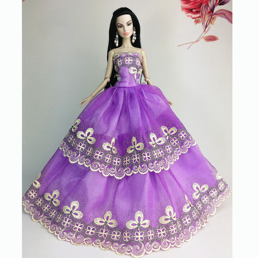 581F-Handmade-Wedding-Gown-Dresses-Clothes-Party-For-Barbie-Doll-Xmas-Gifts