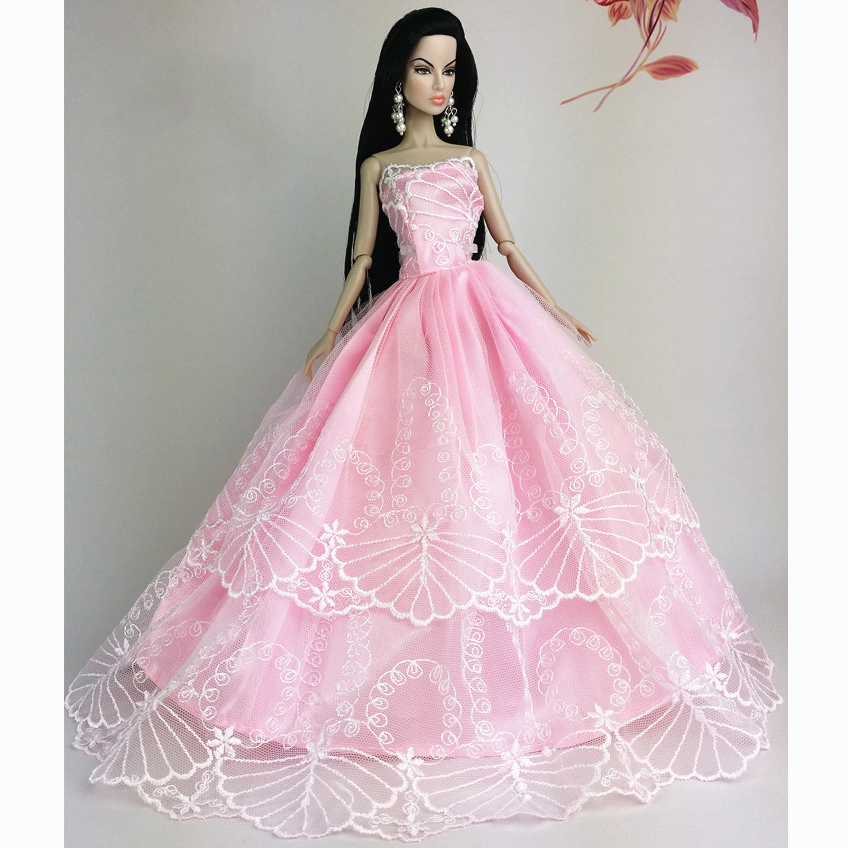 Handmade wedding gown dresses clothes party for princess for Barbie wedding dresses for sale