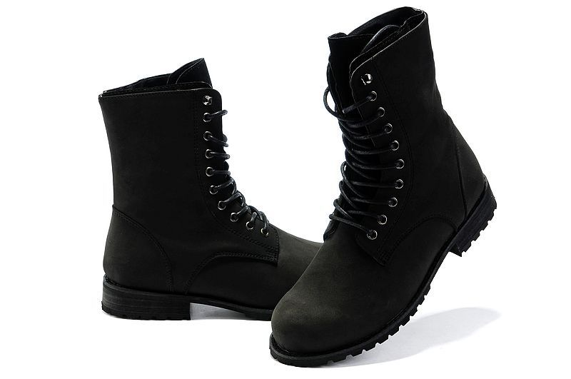 Black Mens Combat Leather Mid Calf Boots Style Fashion Warm Winter ...