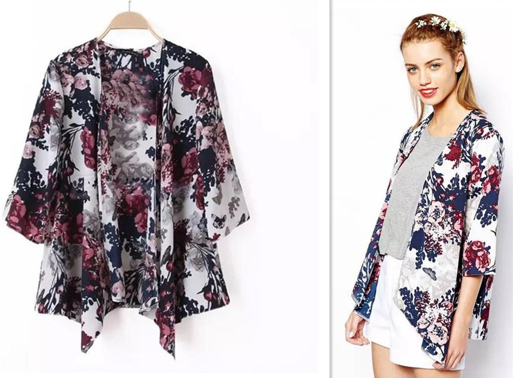 Women Floral Chiffon Loose Boho Kimono Crochet Sunblock Cardigan ...