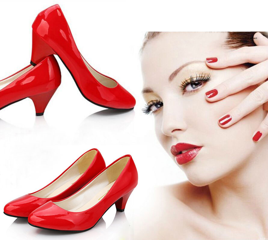 New Women's Pointed Toe PU Leather Sweet Club Antiskid Chunky Heel Shoes