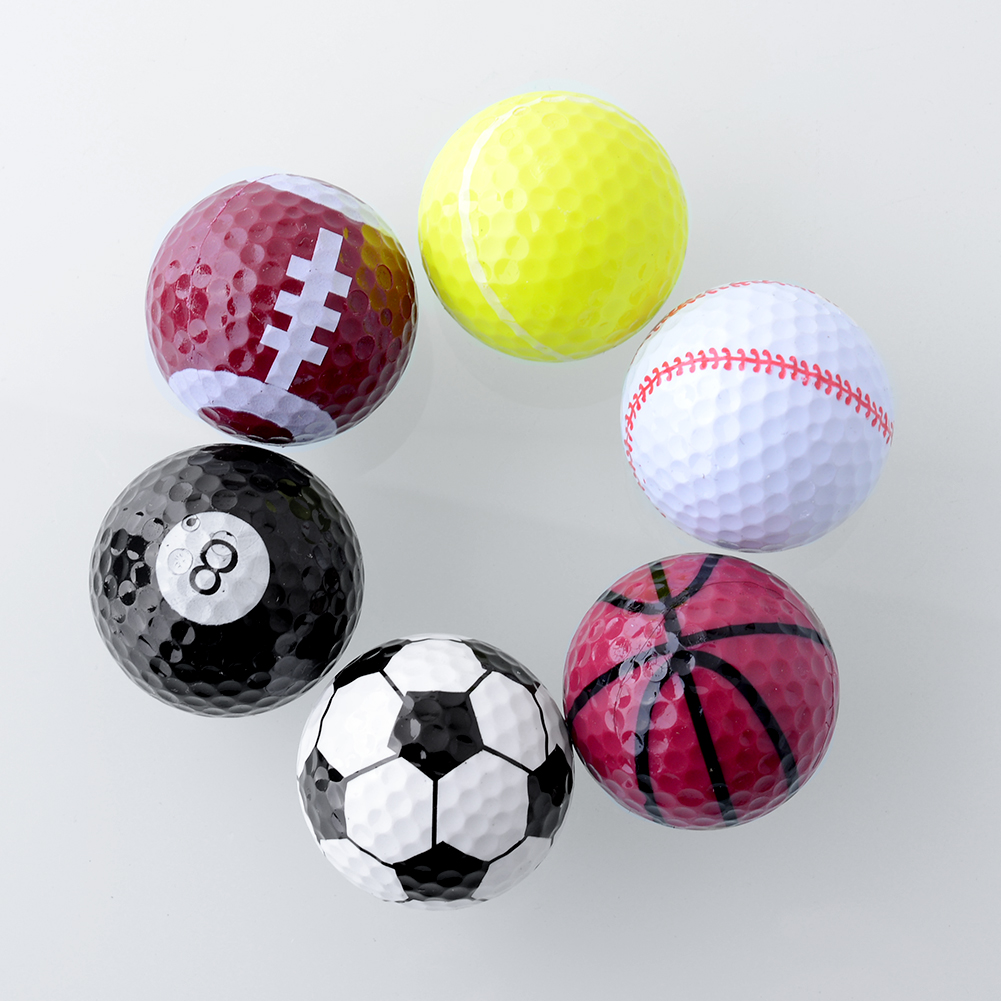 1-Set-6PCs-Novelty-Assorted-Creative-Golf-Balls-Fathers-Day-Gift-Rubber
