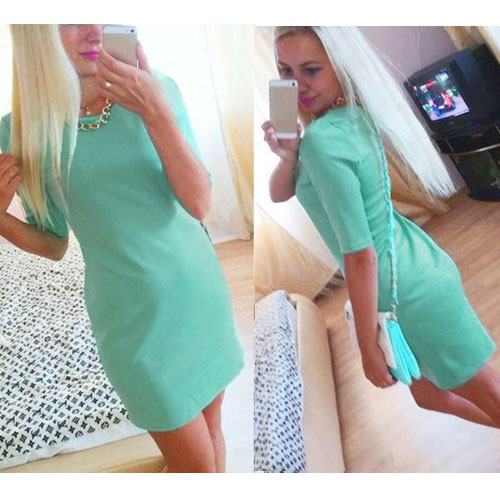 Summer Women O Neck Half Sleeve Bodycon Fit Slim Hip Package OL Casual Dress