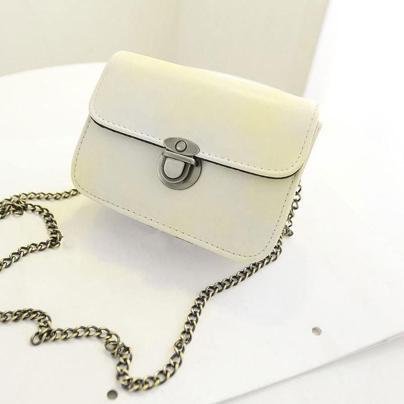 Women Chain Retro Clutch PU Leather Casual Handbag Messenger Shoulder Bag