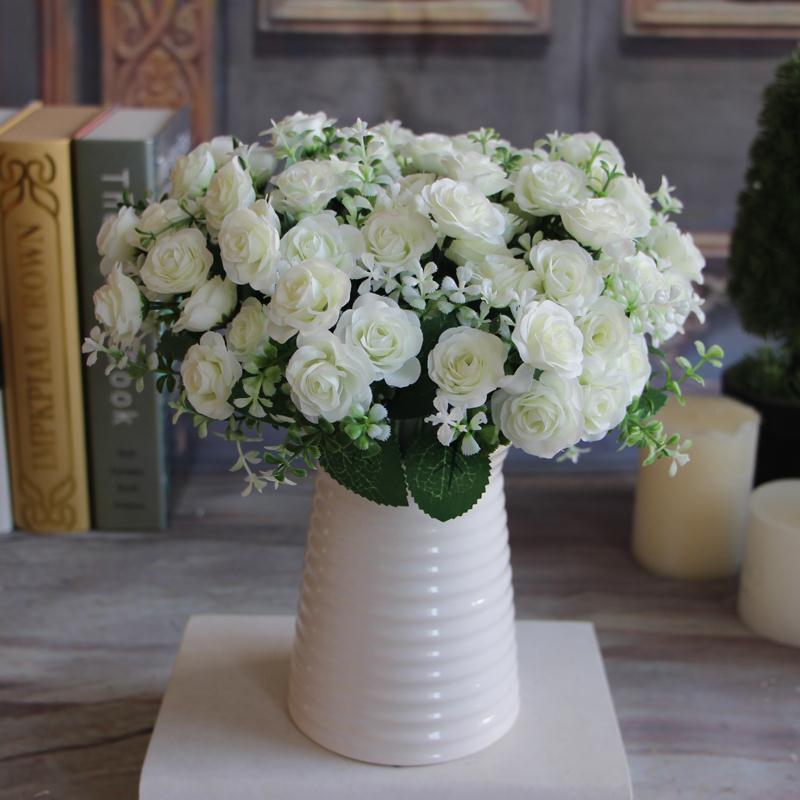 Hot pretty 15 buds 1 bouquet mini rose artificial silk - Mini seche linge appartement ...