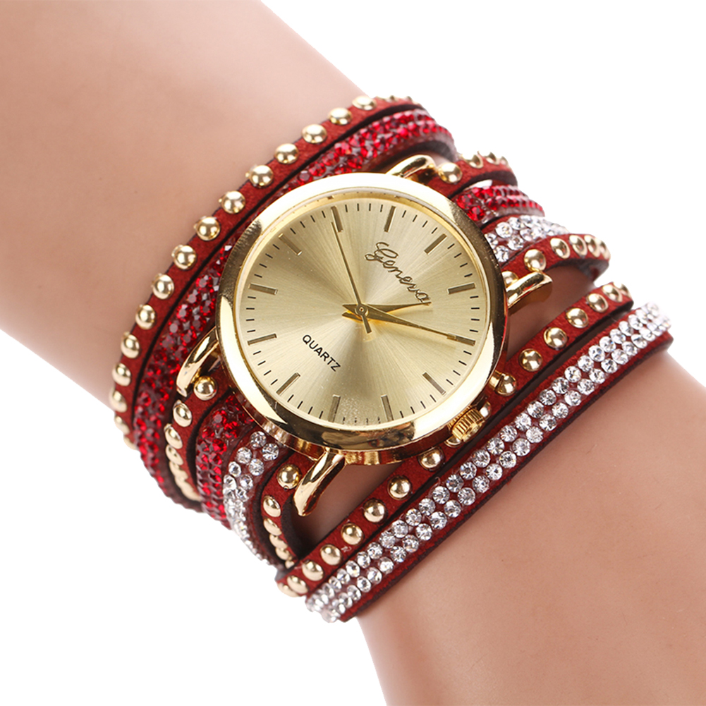 fashion multilayer leather band rivets bracelet watch women rhinestone watches ebay. Black Bedroom Furniture Sets. Home Design Ideas