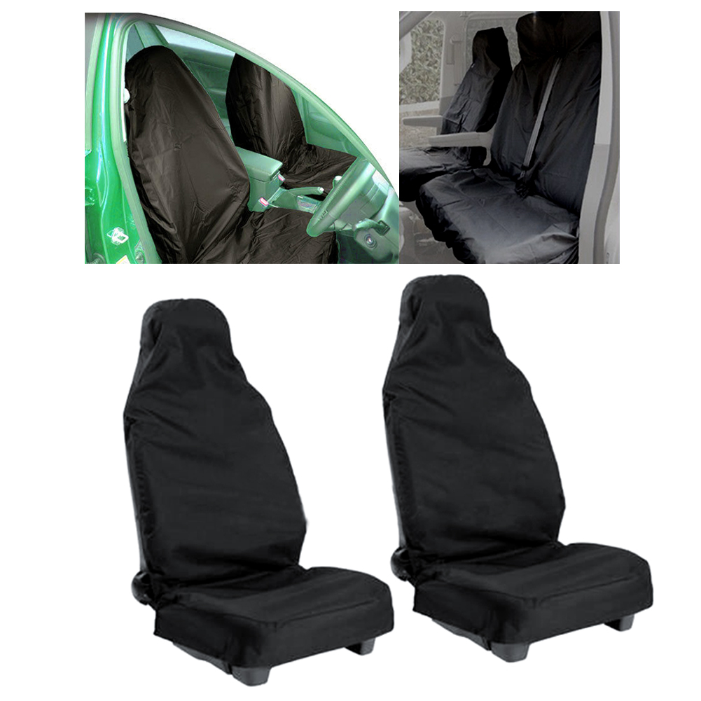 universal 2pcs car waterproof nylon front seat covers heavy duty protectors ebay. Black Bedroom Furniture Sets. Home Design Ideas