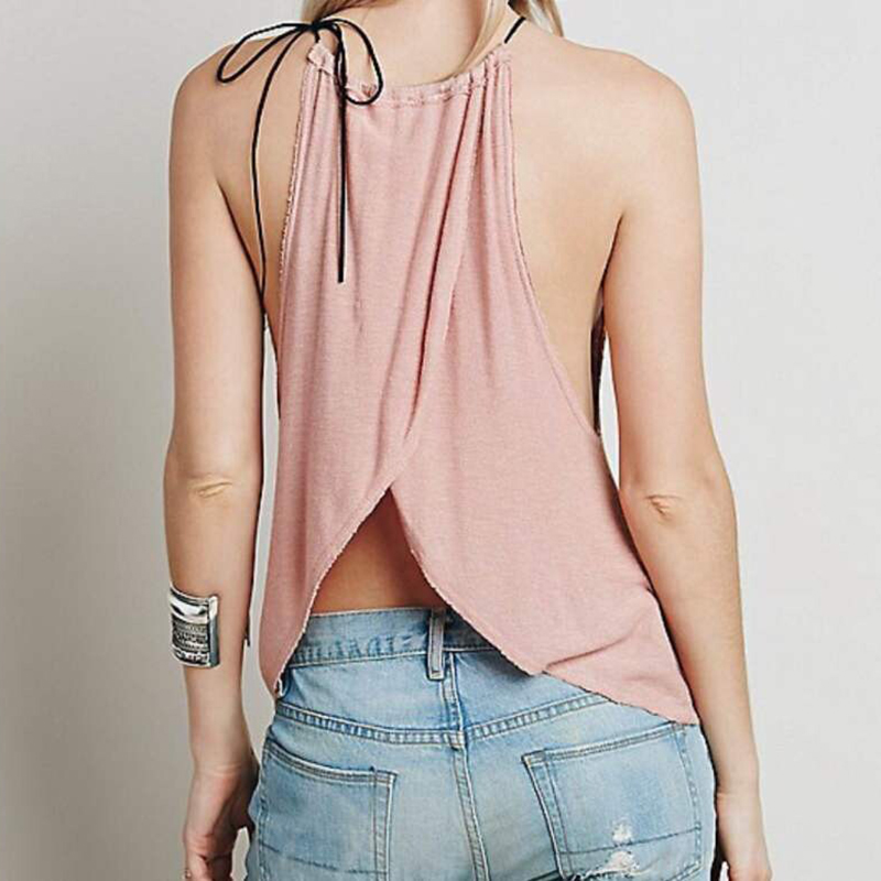 Women Lady Backless Vest Cross Halter Loose Party Tank Tops Blouse Tee T-Shirt
