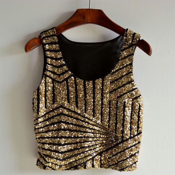 Sexy Women Vest Tank Crop Top Blouse Tee Sequin Sleeveless Short Party