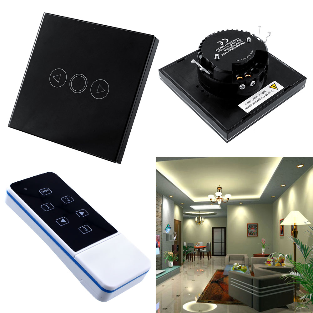 1 Gang Home Light LED Touch Remote Control Dimmer Black Panel Wall Switch AU eBay