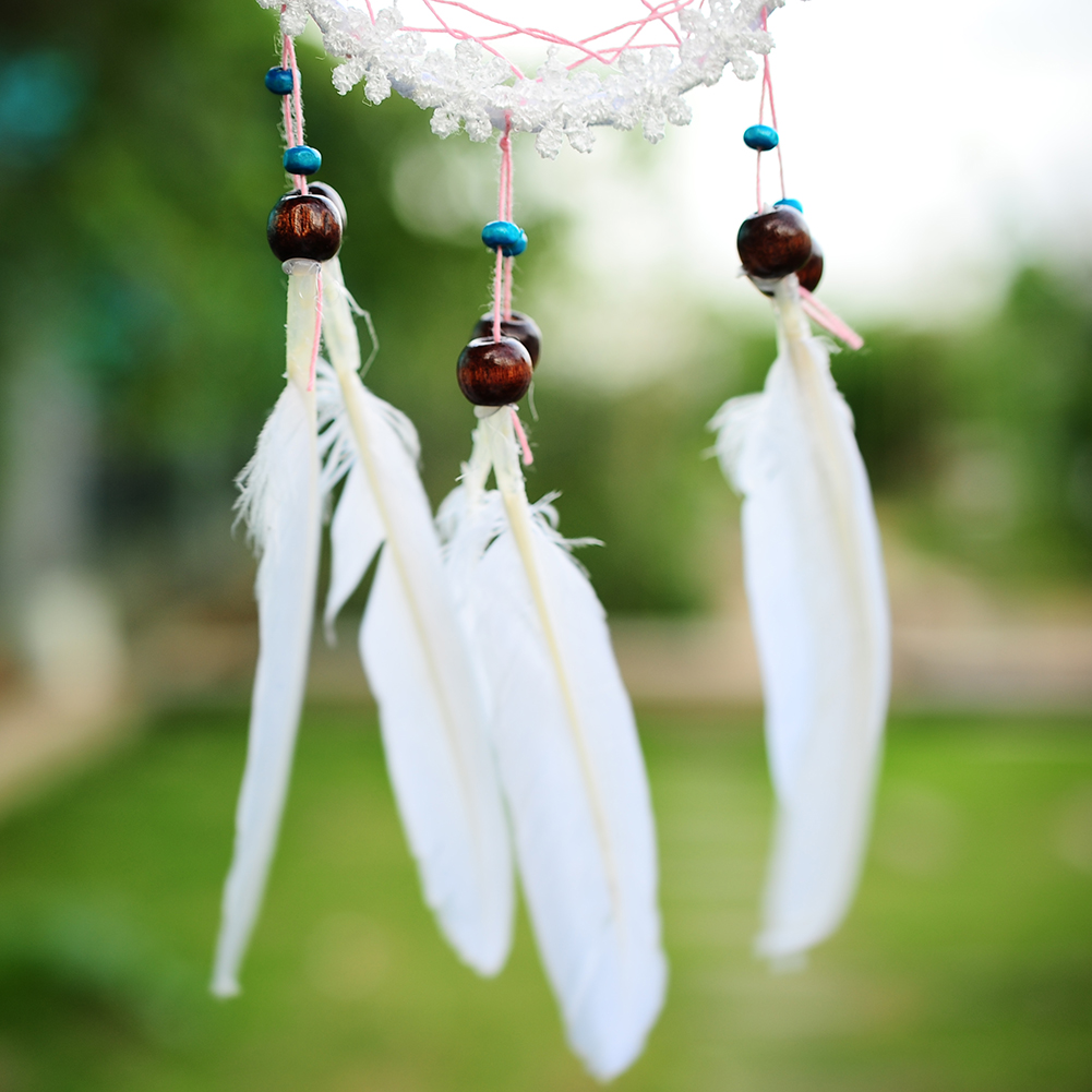Handmade white flower dream catcher net with feathers for Decoration hangers