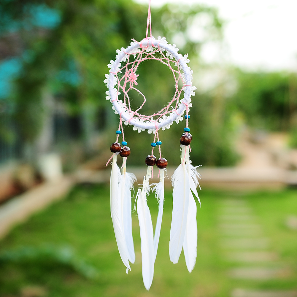 Handmade white flower dream catcher net with feathers hanging image is loading handmade white flower dream catcher net with feathers mightylinksfo