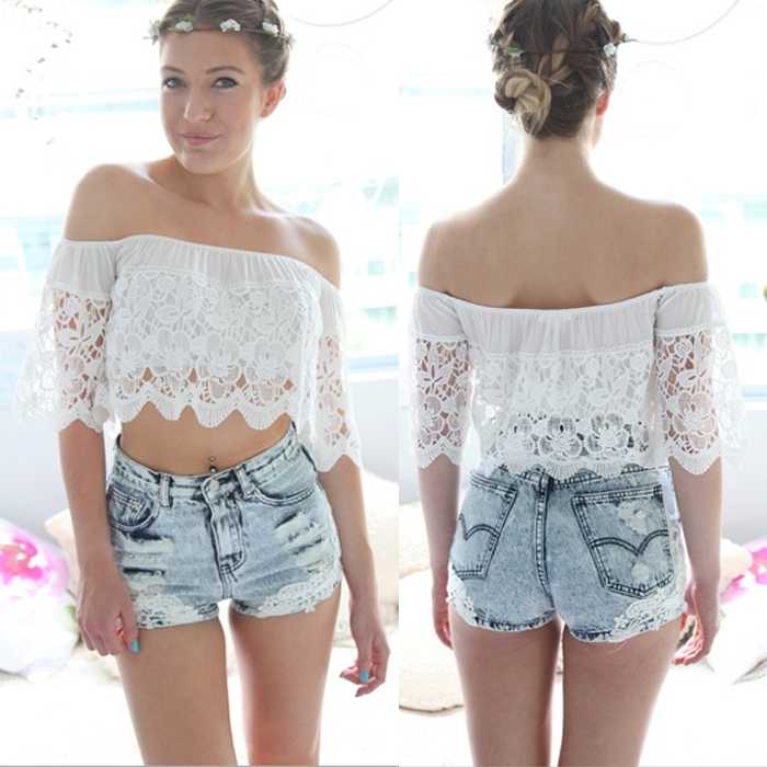 Women Sexy Short Sleeve Beach Lace Crop Top Bralette Bustier Blouse T-Shirt