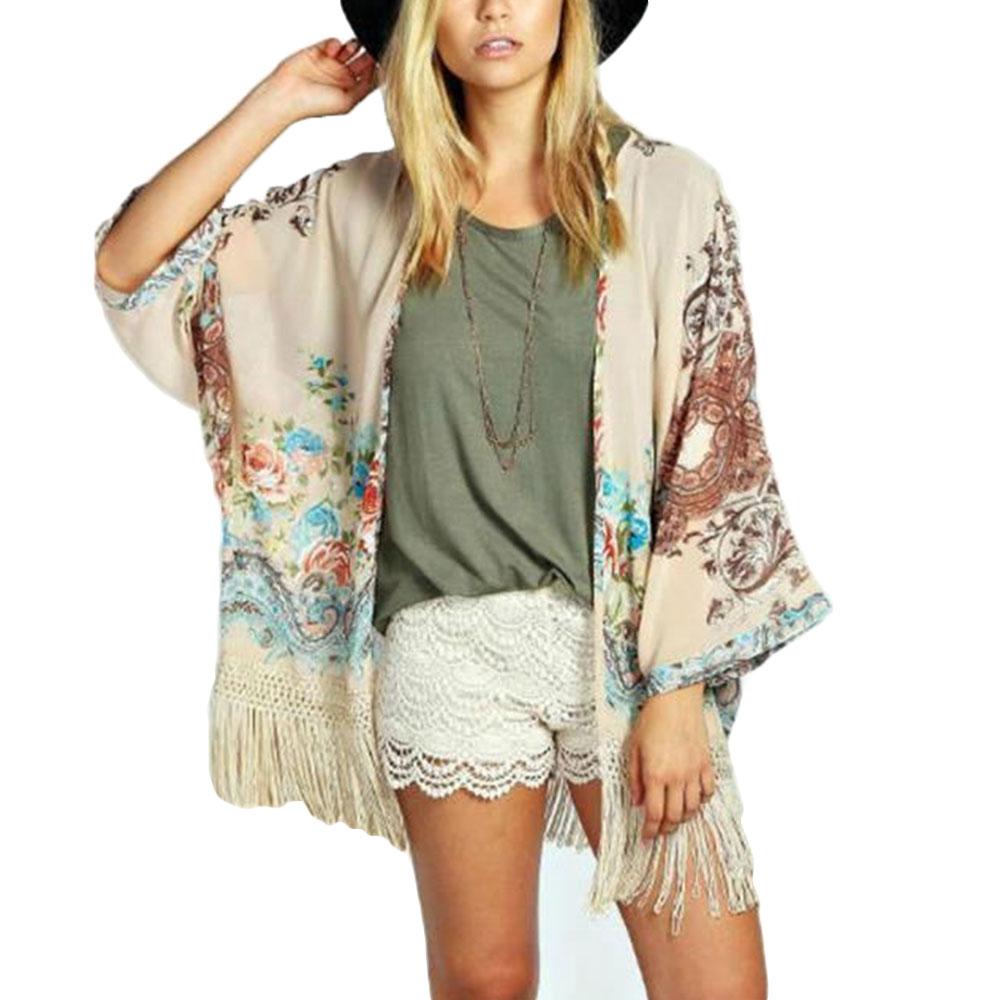 Women Summer Kimono Floral Beach Tassle Blouse Coat Jacket Tops Cardigan