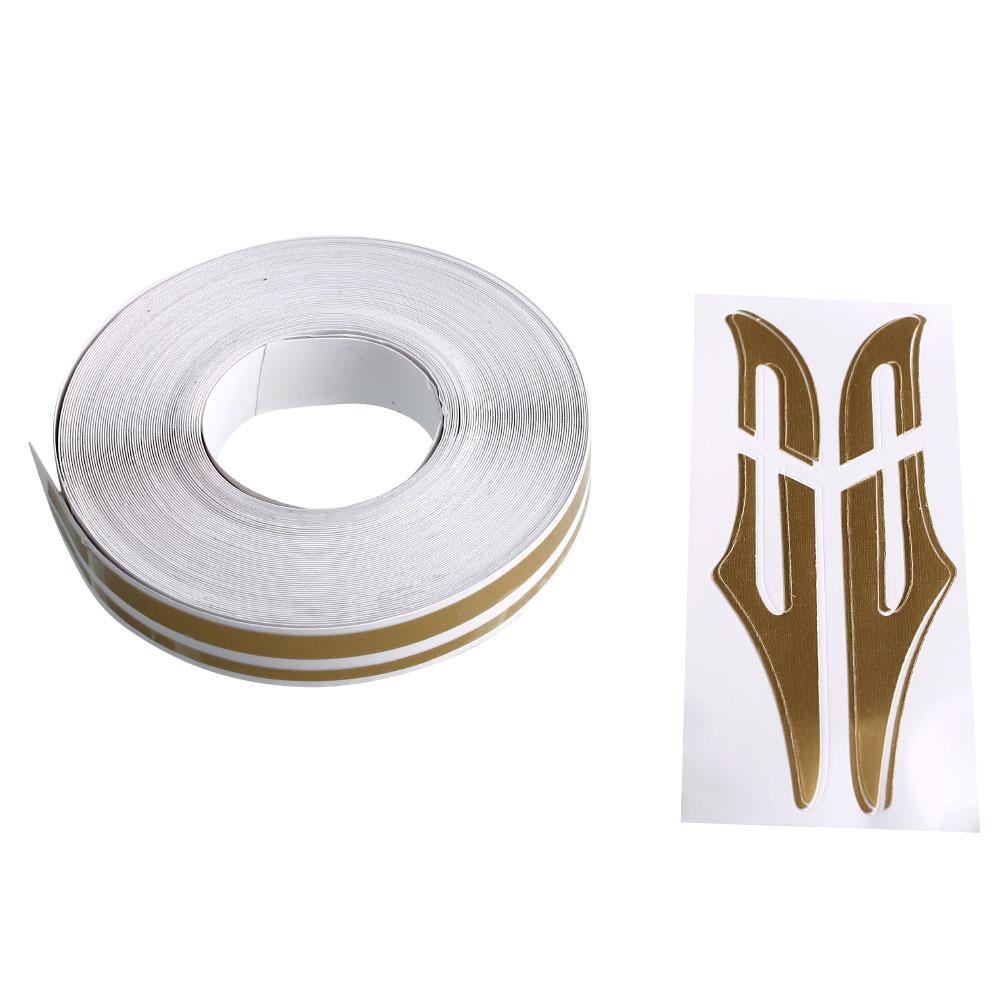 Double Gold Platinum: 12mm PinStripe PinStriping Tape Vinyl Sticker White Gold