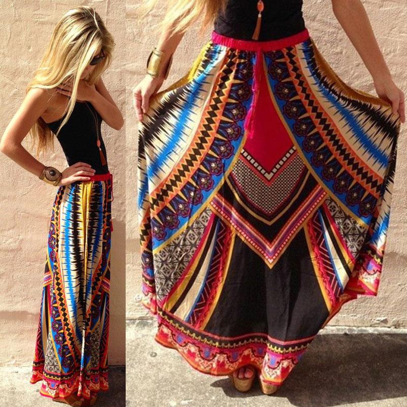 Boho Print High Waist Pleated Summer Beach Long Maxi Skirt Casual Dress Sundress