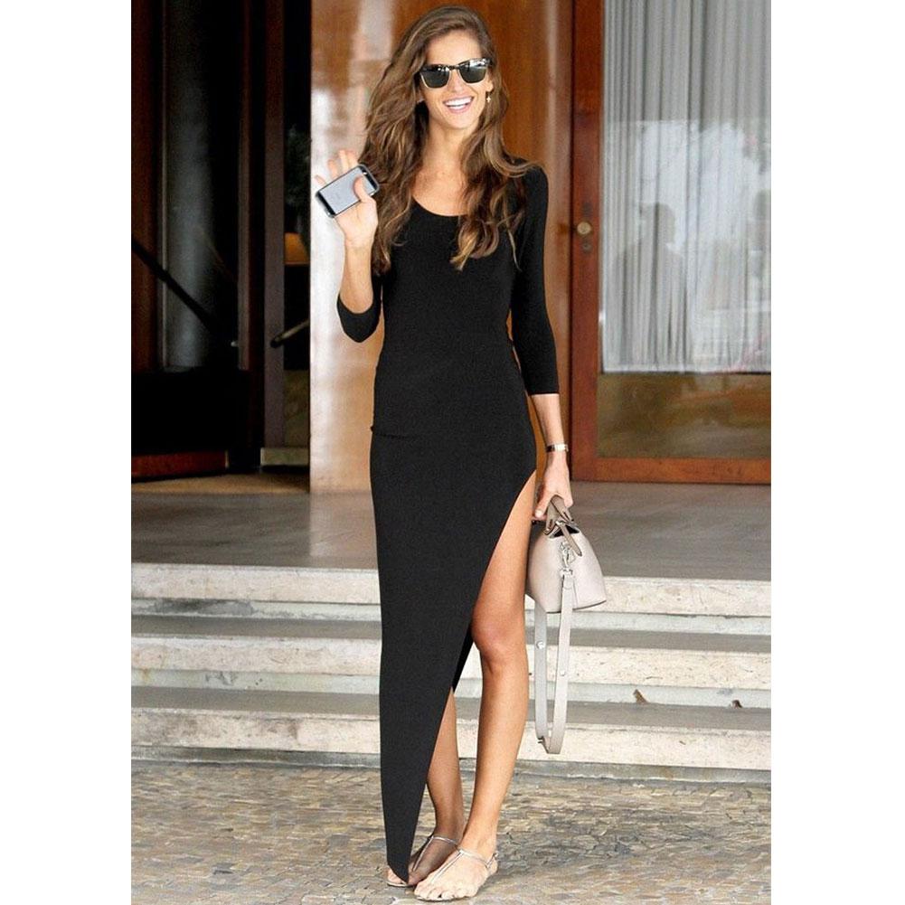 frauen dame sexy split chic elegante sexy schlank lange maxi kleid sommerkleid ebay. Black Bedroom Furniture Sets. Home Design Ideas