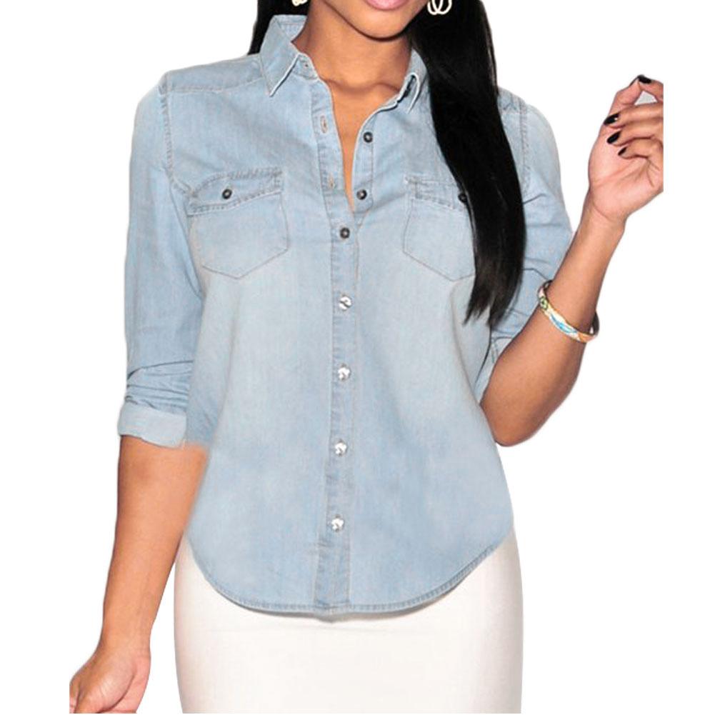 Women fashion casual pocket denim button down long sleeve for Denim button down shirts