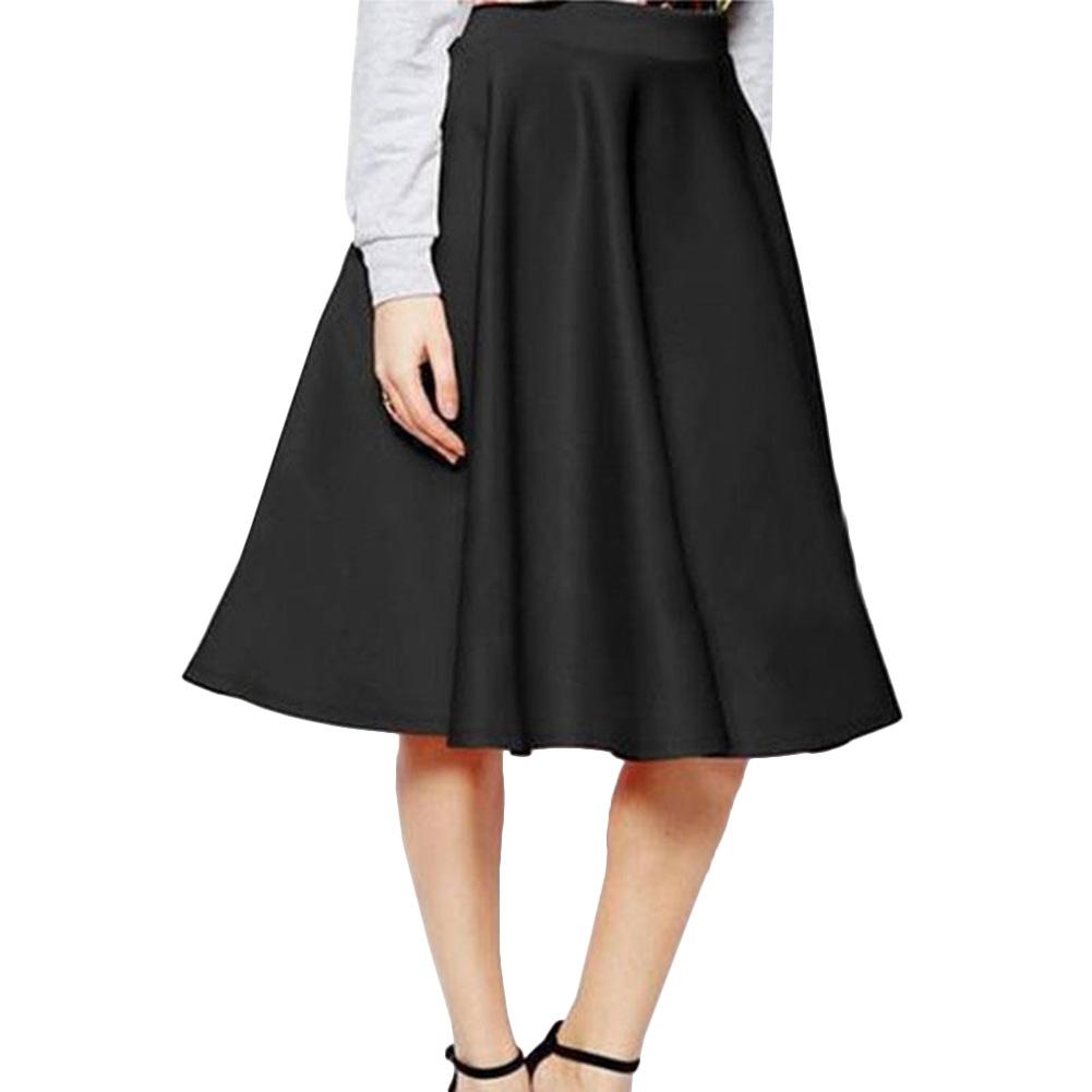 Women's Stretch Plain High Waist Skater Flared Pleated Skirt Maxi Dress