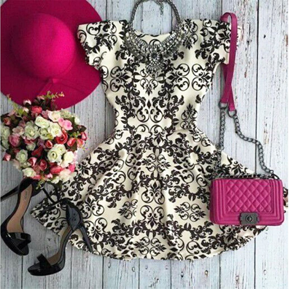 Women Lady Summer A-Line Sexy Floral Cocktail Evening Party Mini Sundress Dress