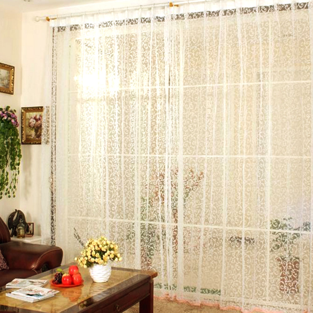 Floral tulle voile balcony window curtain drape panel for Balcony curtains