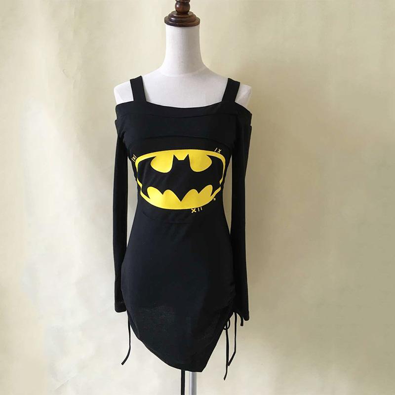 C4E1-Woman-Fashion-Off-Shoulder-Batman-Jumper-Top-Blouse-Lady-Cross-Tee-T-Shirt