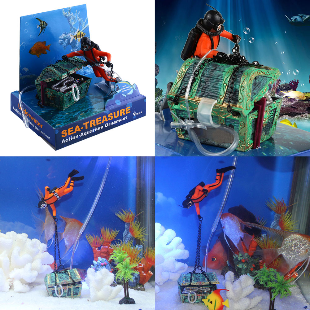 Aquarium ornament decor treasure hunter chest for fish for Aquarium scuba diver decoration