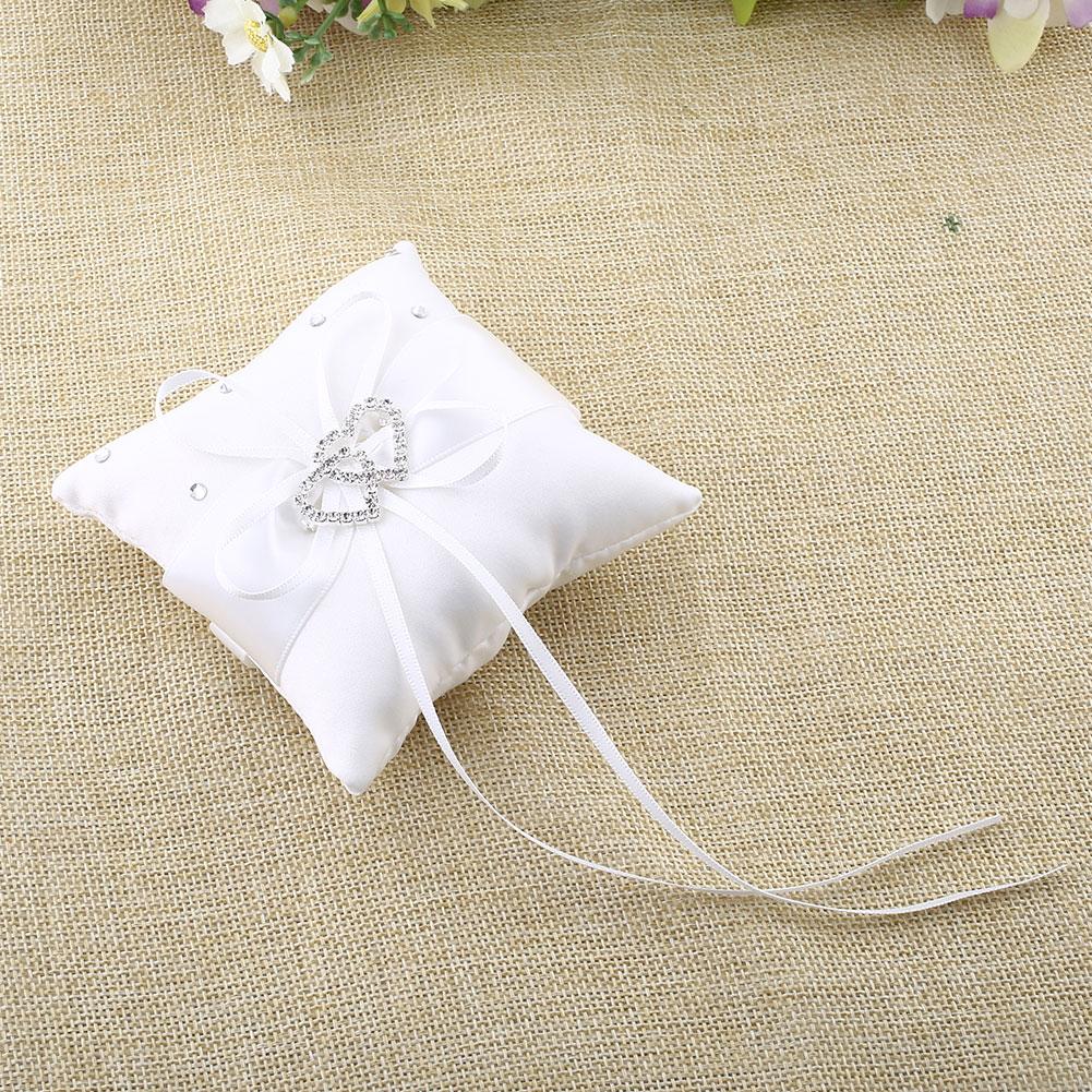decoration vintage luxury rustic wedding ring cushion bearer bridal ribbon satin soft pillow lace silk holder flower
