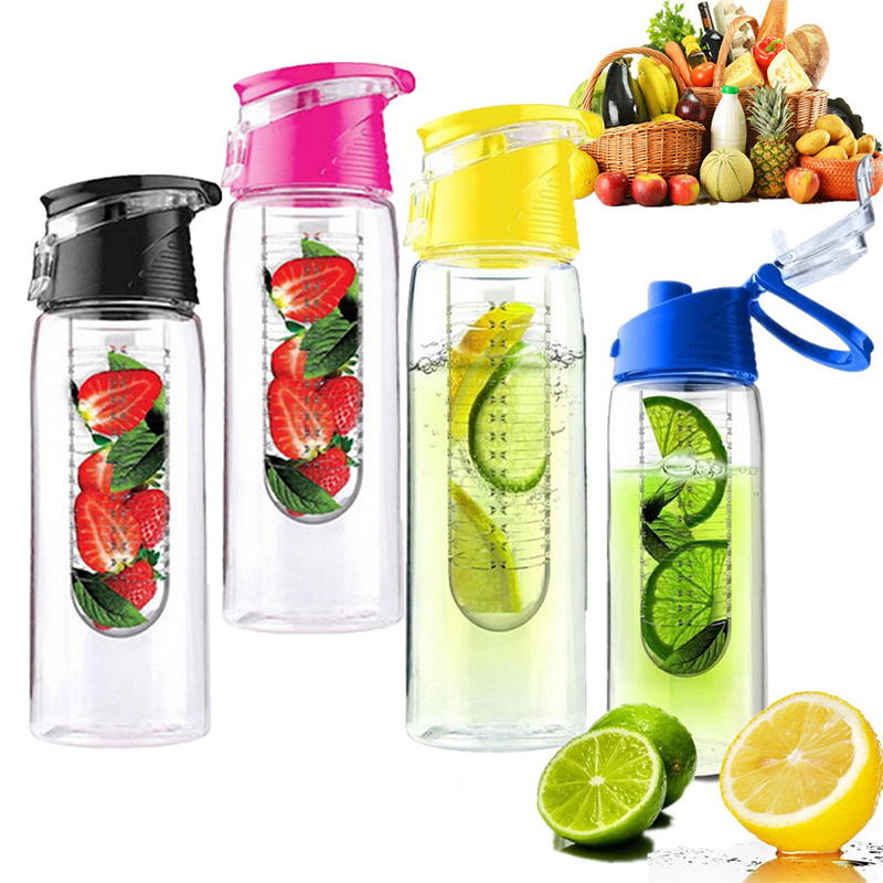 800 ml Fruit Infuser Water Bottle BPA Free Sport Outdoor Juice Infusing Infusion