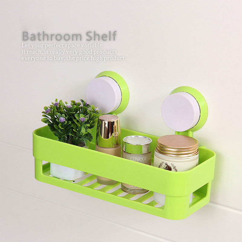 Kitchen Bathroom Wall Mounted Suction Storage Rack Shelf