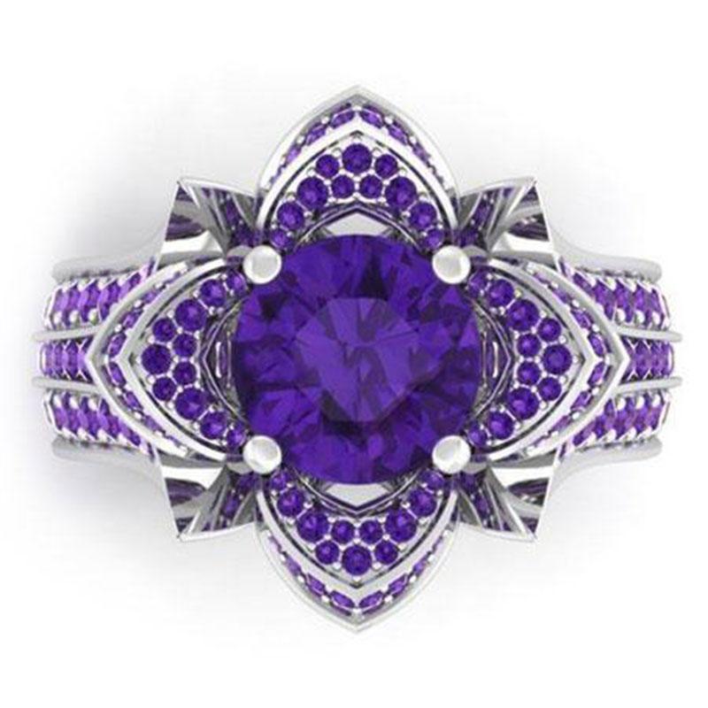 purple zircon filled engagement wedding flower gemstone