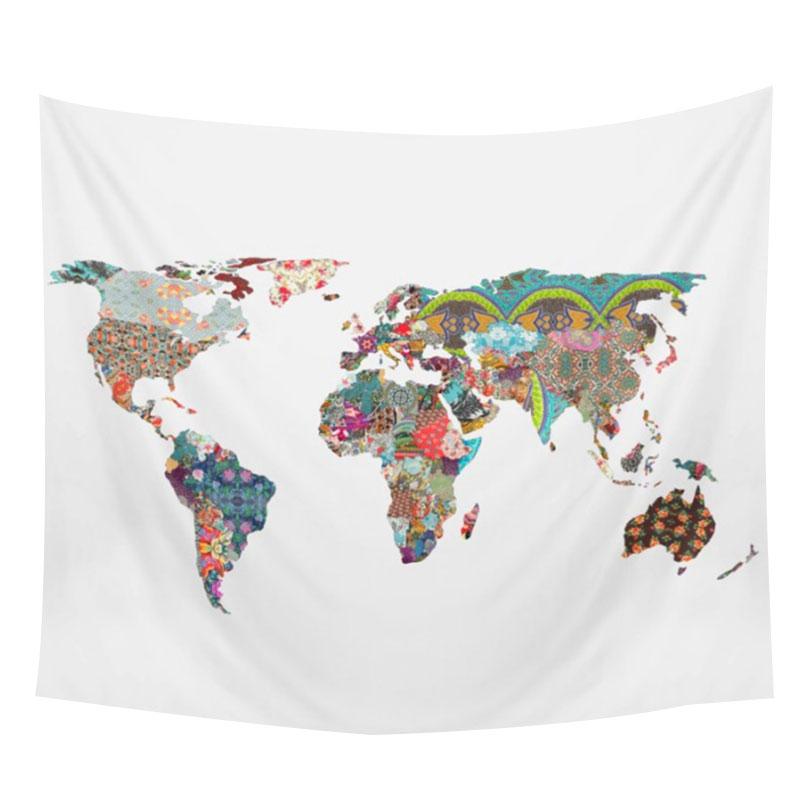 World Map Printed Rectangle Versatile Boho Tapestry Blanket Wall Hanging
