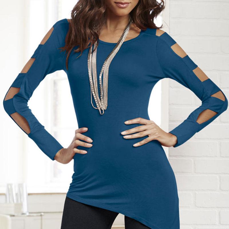 Women-Fashion-Sheathy-Hollow-Off-Shoulder-Top-Pullover-Irregular-T-shirt-Blouse