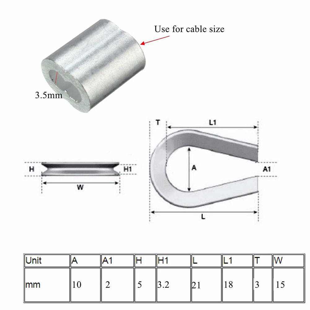 Pack mm standard thimbles ferrules for quot stainless