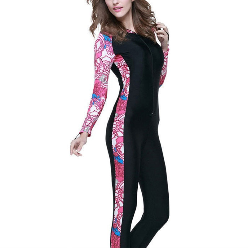Woman-Ladies-Lady-Floral-Hooded-Wetsuits-Full-Length-