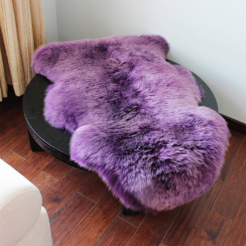 Washable fur fluffy wool 2 in 1 chair seat cover carpet for Two rugs in one room