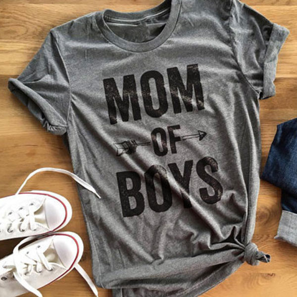 438F-Women-Mom-Of-Boys-Letters-Arrow-Printed-Short-Sleeve-O-Neck-Casual-T-Shirt